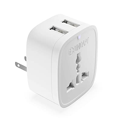 Europe to US Plug Adapter with 2 USB Outlet, Unidapt American USB Wall Charger 3 in 1, EU Australian China UK European to USA Canada Mexico Japan Travel Power Plug Adapter (Type A): Home Improvement