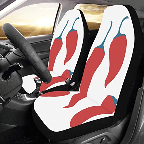 (Chill Red Spicy Pepper Custom New Universal Fit Auto Drive Car Seat Covers Protector for Women Automobile Jeep Truck SUV Vehicle Full Set Accessories for Adult Baby (Set of 2 Front))