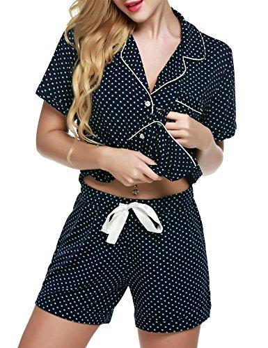Modfine 2 Camicia Pigiama Con Pezzo Set Pigiameria Blu Punto Corta Estate Donna XwUqtvXr