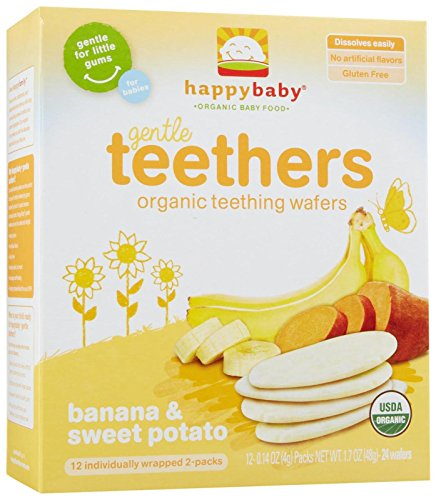 Happy Family Teething Wafers-Banana and Sweet Potato-1.7 Ounces-6 Pack