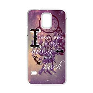 Samsung Galaxy S5 Case- I Love You to the Moon and Back Warm Funny Quote & Purple Starry Star Dreamcatcher Echo Series Durable Defender - Premium Hard Plastic Cover (Laser Technology)