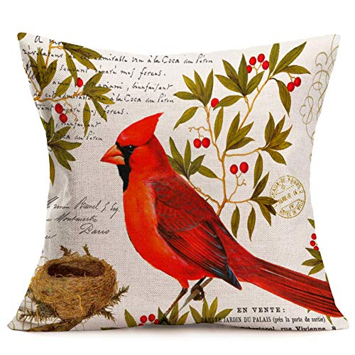 Fukeen Red Cardinal Birds Square Throw Pillow Cases Hawthorn Tree Branch & Bird Nest Decorative Cotton Linen Cushion Covers French Stamp Background Home Living Room Decor 18