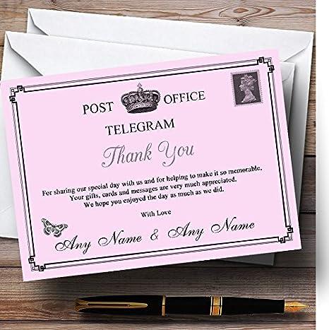 Vintage Telegram Elegant Pink Personalized Wedding Thank You Cards
