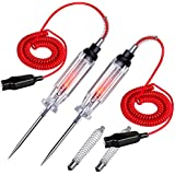 2PCS Heavy Duty Automotive Circuit Tester, Premium 6-24V Test Light with Extended Spring Test Leads & Sharp Piercing Probe, Circuit Voltage Tester with Replacement Indicator Light for Car/Vehicles