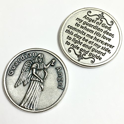 Guardian Angel Pocket Token Coin Protection Protect Catholic Charm Medal Religious Gift Prayer Pray 1 1/8