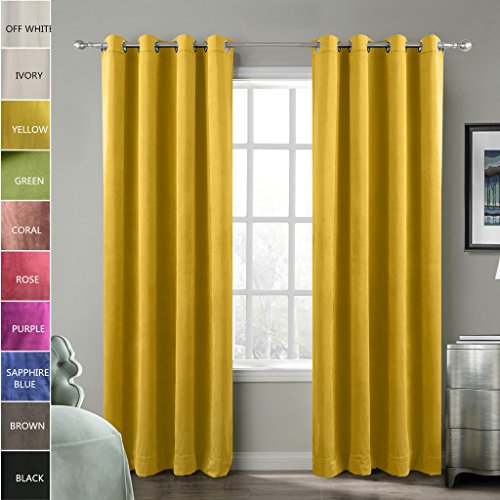 Cheap ChadMade Blackout Lined Premium Velvet Curtain Yellow 50Wx84L Inch (1 Panel), Eyelet Grommet For Livingroom Bedroom Theater Studio, BIRKIN Collection