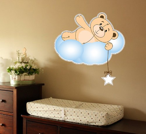 Cute Teddy Bear, Cloud and Star Nursery Wall Decal Decor Art Sticker Mural