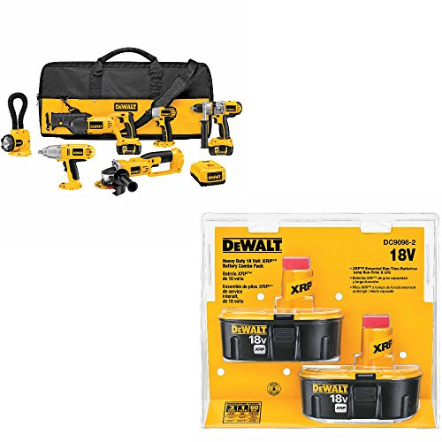 DeWalt DCK675L 6-Tool Cordless Combo Kit & DeWalt DC9096-2 18V XRP Battery Pack