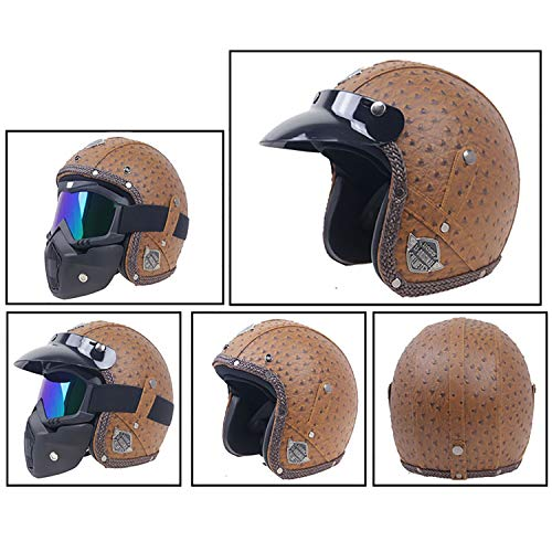 - MMGIRLS Retro Personality Helmet DOT Certified Leather Cruiser Men and Women Motorcycle Half Helmet Distribution Goggles mask Sun Visor (Personality dot Brown),XL