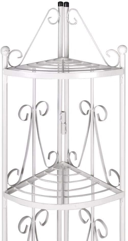 Tidyard Scaffale per Piante in Ferro//Porta Piante ad Angolo 36 x 160 cm Bianco