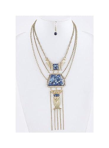 Patina Metal Ornate Chain Drop Necklace Set Jewelry