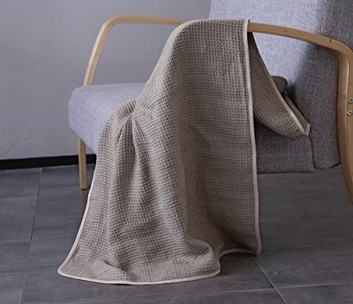 11 Sizes Honeycomb Organic French Linen Throw Blanket in Ivory or Grey by Flax Linens