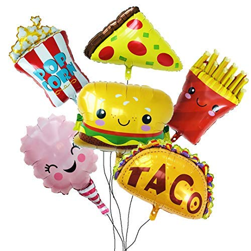 - Balloon Set with 6 Large Pieces of Snacks for Party and Shop Decoration.Pizza,Popcorn,Hamburger,Chips,Ice Cream,Taco.Yummy Style for Birthday Party Etc.All in Ánimo Balloon.