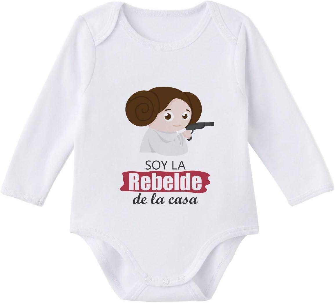 SUPERMOLON Body niña Soy la rebelde de la casa Blanco algodón para bebé 0-3 meses