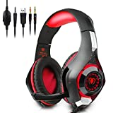 Megadream? Professional PC Gaming Bass Earphones 3.5mm LED Light Stereo Over-Ear Headphone with Microphone, Volume Control, Noise Cancelling HiFi Headset for PC Laptop Tablet Mobile Phones PS4 by Megadream