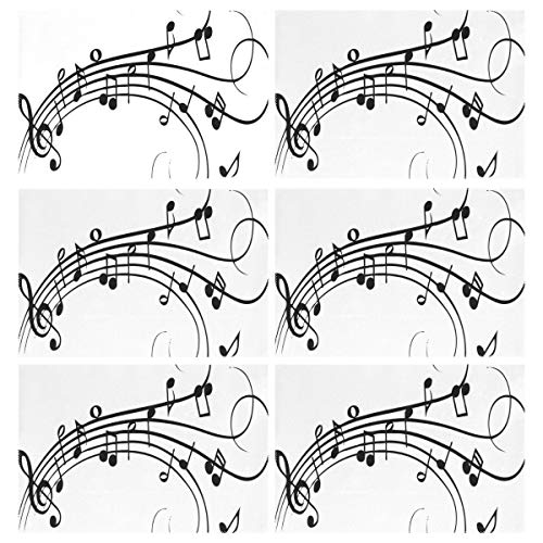 Cocoa trade Heat Resistant Placemats for Kitchen Table Mats Dining Room,Musical Notes Drawing Washable Insulation Non Slip Placemat 12x18 inch(6 pcs)