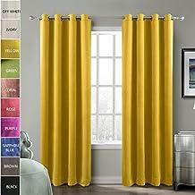 ChadMade Blackout Lined Premium Velvet Curtain Yellow 50Wx84L Inch (1 Panel), Eyelet Grommet For Livingroom Bedroom Theater Studio, BIRKIN Collection