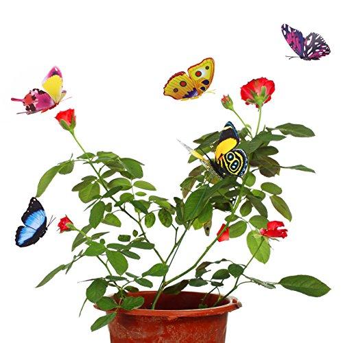 Butterfly Stick - LETOOR Butterflies on Sticks Miniature Fairy Garden Decor Outdoor Flower Pot Garden Decorations and Butterfly Glows at Night (20 PCS)