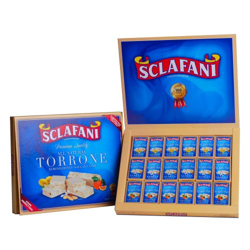 Torrone Almond Nougat Candies; 18 piece Lemon, Vanilla, Orange Assortment Italian Almond Candy
