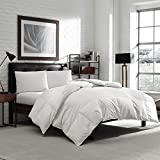 Luxury Eddie Bauer Hypoallergenic 650 Fill Power Lofty Down Comforter - 300 TC Damask Striped Cotton - Medium Warmth (Oversized Queen 90'' x 96'')