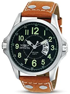 Invicta II Black Dial Leather Bracelet Mens Watch 0787