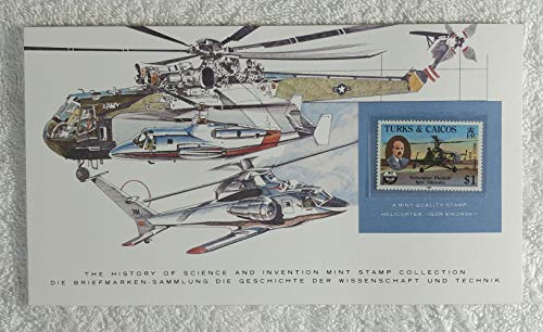 The Helicopter - Igor Sikorsky - Postage Stamp (Turks & Caicos, 1985) & Art Panel - The History of Science & Invention - Franklin Mint (Limited Edition, 1986) - Aviation