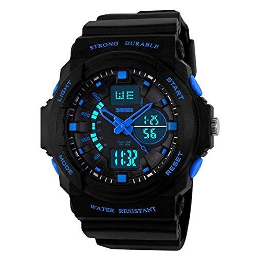 amstt Kid Niños de relojes digital-analógico con alarma Cronómetro Cronógrafo para edad 7 - 15 años de edad los niños niñas niños deporte muñeca reloj azul: ...