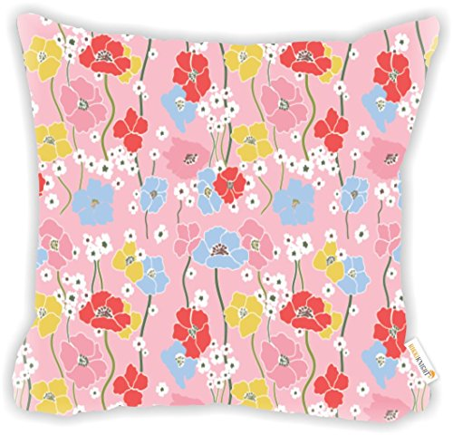 "(Rikki Knight Pink Floral Wallpaper Design 18"" Square Microfiber Throw Decorative Pillow with Double Sided Print (Insert NOT Included))"