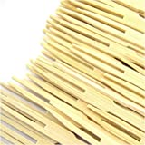 """BambooMN Premium 3.5"""" Bamboo Mini Cocktail Tasting Forks Fruit Picks Party Supplies, 300 Pieces"""
