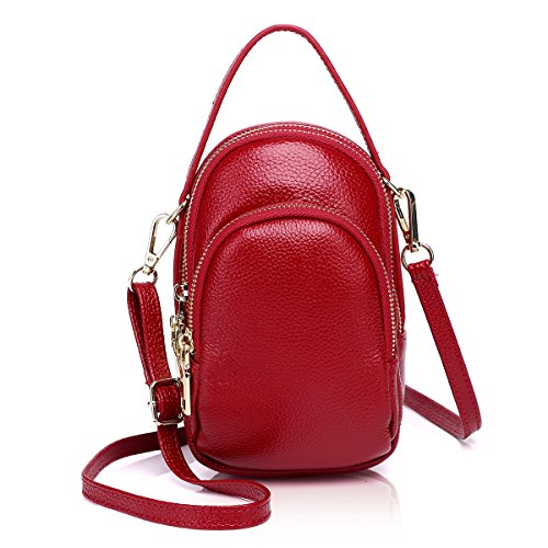 Zg Girls Women 100% Real Leather Small Cute Crossbody Cell Phone Purse Wallet Bag with Shoulder Strap Fits for IPhone 6 7 8 Plus and Samsung Galaxy S7 Edge S8 Edge - Red
