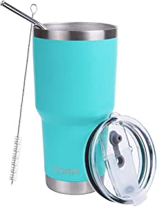 Comli 30oz Mint Tumbler Stainless Steel Double Wall Vacuum Insulated Travel Mug With Lid and Straw, Cleaning Brush