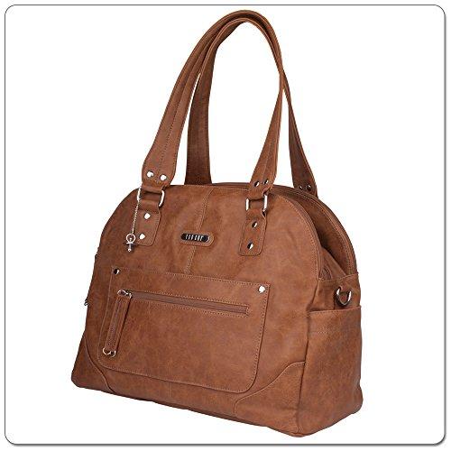 VANCHI Tuscan Bowler, Baby Diaper Bag & Handbag, Tan