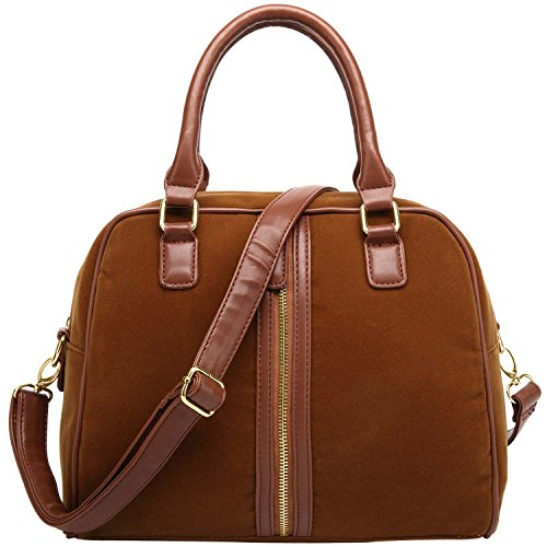 FASH Suede Doctor Style Top Double Handle Handbag,Brown,One - Utility Bag Suede