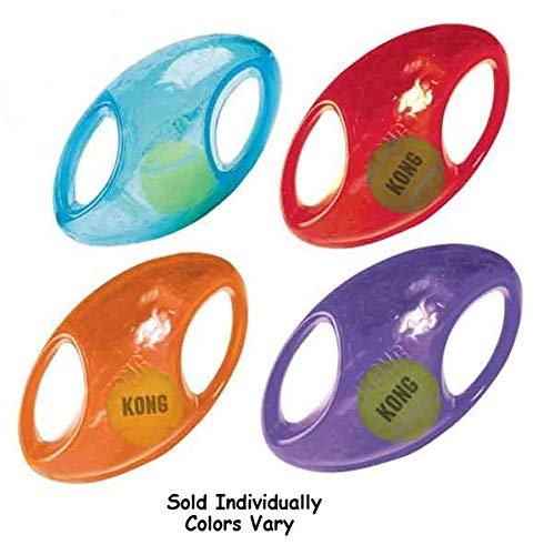 (KONG Dog Toys Jumbler Football Shaped Tennis Ball Inside 2-in-1 Squeaker Colors Vary)