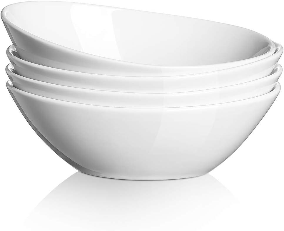 DOWAN Porcelain Serving Bowls Set of 4, 36 Oz Serving Dishes for Soup, Pasta Plates and Bowls Set, Nesting Bowls for Salad, Chip Resistant Ceramic, Microwave and Dishwasher Safe, White