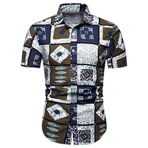 Men's New Short Sleeve Ethnic Shirt Pattern Casual Fashion Printing Lapel Top ()