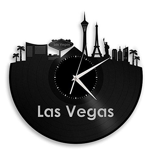 Las Vegas Vinyl Wall Clock City Skyline Travel Gift