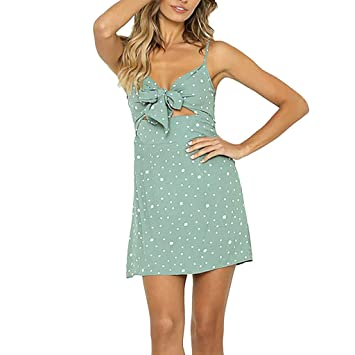 0c45cd26d4e Women s Spaghetti Straps Polka Dot Front Bowknot Cut Out Mini Dress Summer  Sleeveless Beach Tank Dresses