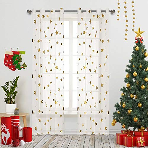 (Home Fashion Sheer Curtains Grommets Top Romantic Gold Star Foil Print Window Treatment for Girl Bedroom Glitter Stars Thin and Soft Curtains Panel for Kids Room 54
