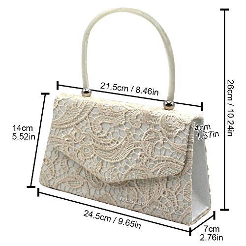 Ladies Bridal 1 Evening Lace Bag Bag Envelope TM Handbag Handbag Wedding Lace Ivory Wocharm Prom Bag Clutch Bag 5gZ68qxYw