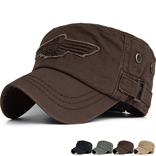 Embroidered Cadet Hat - REDSHARKS Cadet Cap Military Army Flat Top Hat Adjustable American USA Eagle Embroidered Patch Ventilation Eyelet Coffee