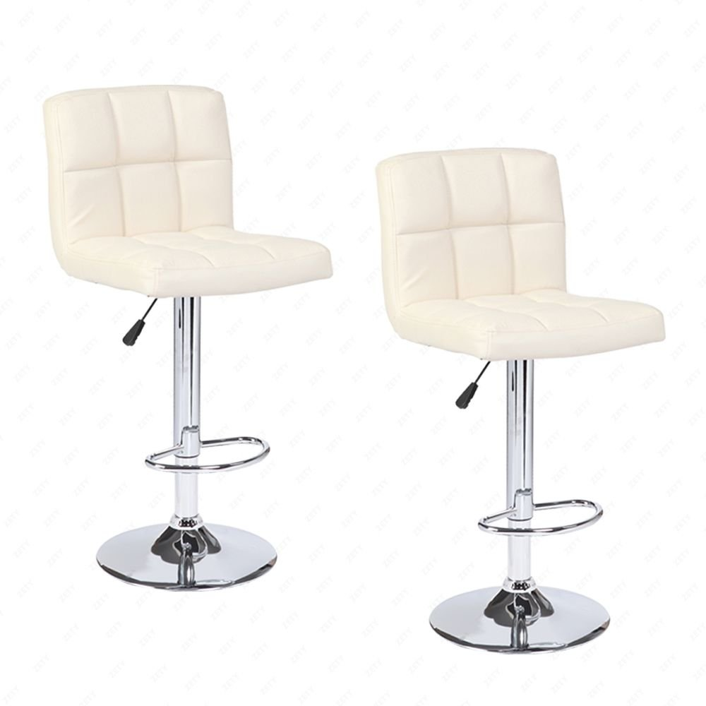 Mecor Adjustable Swivel Leather Bar Stools Hydraulic Counter Height Square Kitchen Dining Chairs Chrome Base,Set of 2 (Cream)