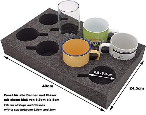 51ni23Kso2L SCHAUMEX® Camping Set - Tellerhalter und Besteckhalter mit Platz für 12 Teller + Tassenhalter XL für Platz bis zu 8…