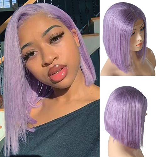Benafee Lilac Lace Front Human Hair Bob Wig Silky Straight Middle Part Short Bob Wigs Glueless Pre Plucked 180 Density Swiss Lace Remy Hair Bob Wig 8 Inch