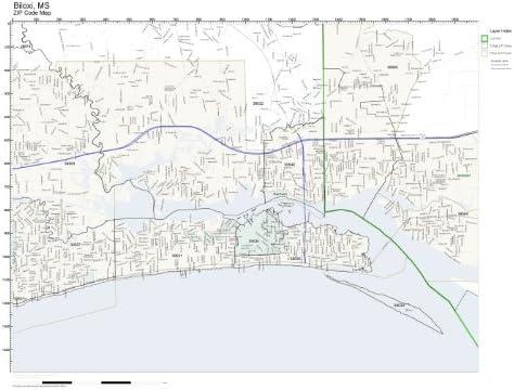 Amazon Com Zip Code Wall Map Of Biloxi Ms Zip Code Map Laminated