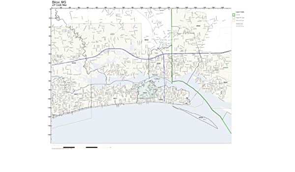 Amazon Com Zip Code Wall Map Of Biloxi Ms Zip Code Map Not
