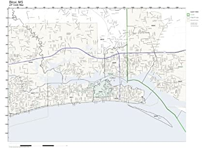 Amazon Com Zip Code Wall Map Of Biloxi Ms Zip Code Map Laminated