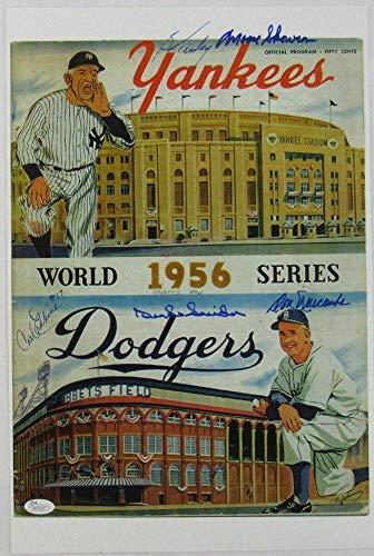 Duke Snider Don Newcombe +3 Signed 12x18 1956 World Series Program Cover Photo J Autographed MLB Magazines