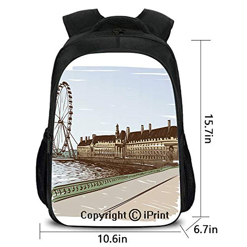 Leisure Theft prevention Backpack,Buckingham Palace Historical Building Thames River Ferris Wheel Pencil Drawing Art Decorative,School bag :Suitable for men and women,school,travel,daily use,etc.Multi