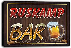 scw3-090166 RUSKAMP Name Home Bar Pub Beer Mugs Cheers Stretched Canvas Print Sign
